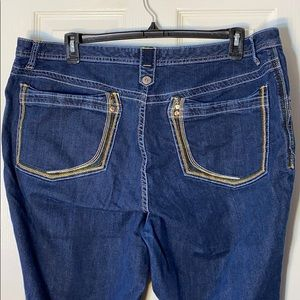 Venezia Colorful Stitch Pocket Denim Capri Sz 24